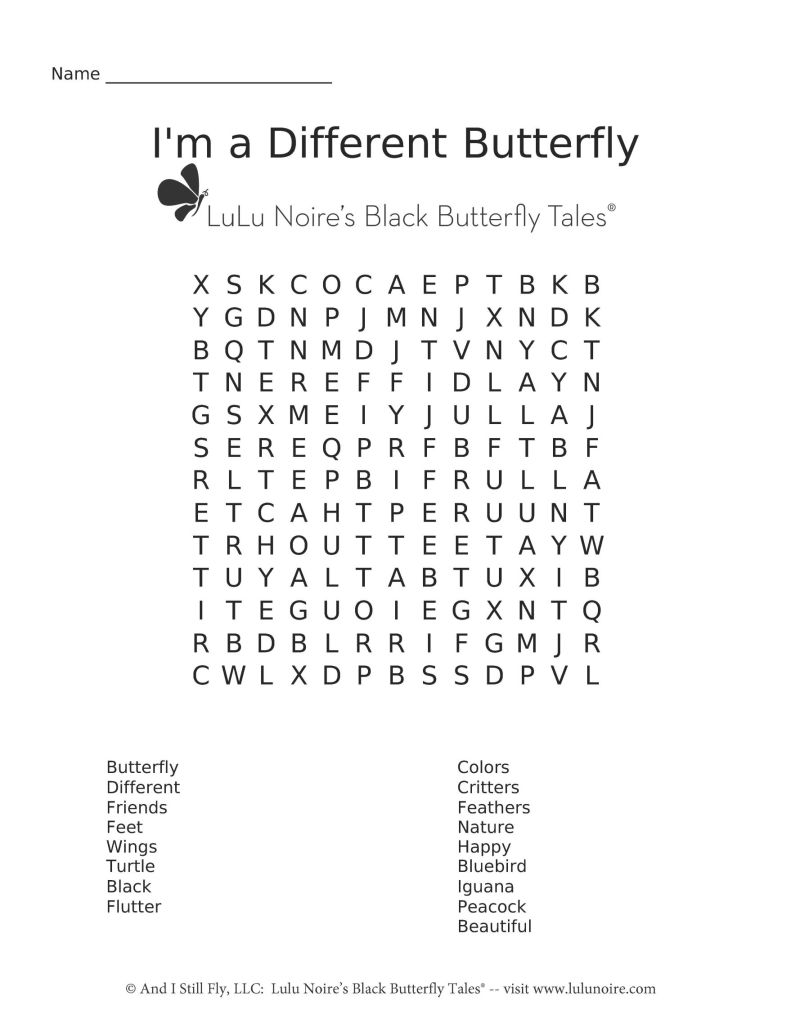 word search I'm a different butterfly